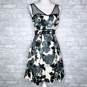 Milly Black Rose Zip Back Lace Strap Silk Dress 2